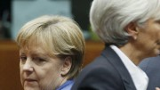 German Chancellor Merkel and IMF President Lagarde attend the euro zone summit in Brussels
