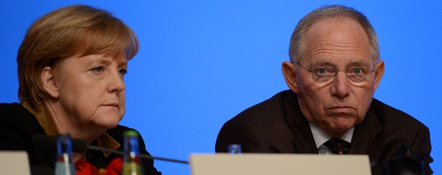 German Chancellor Angela Merkel and German Finance Minister Wolfgang Schaeuble