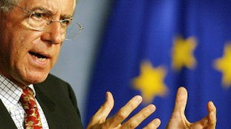 Mario Monti during a news conference in Brussels