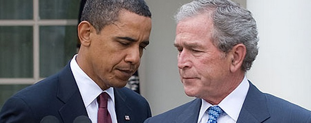 Presidents Obama and Bush