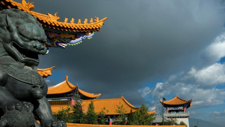 china sculpture dragon house sky clouds