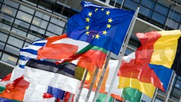 Flags at the European parliament.