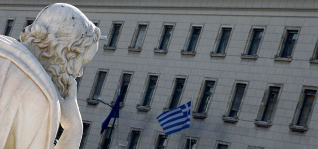 Bank of Greece Statue Greek Flag Building
