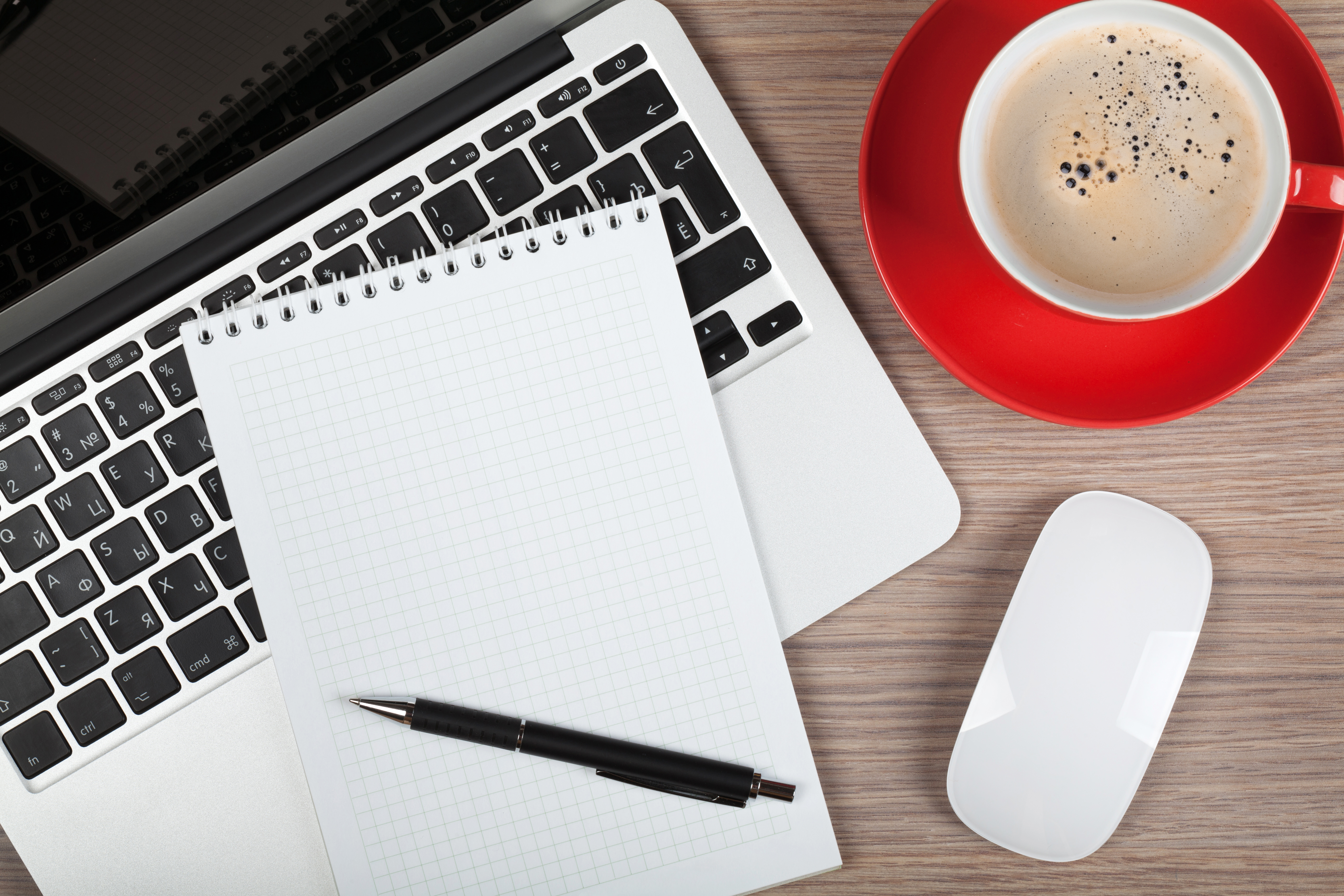 Blank notepad over laptop and coffee cup on office wooden table blank notepad over laptop and coffee cup on office wooden table geotapseo Gallery