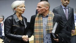 Christine Lagarde and Yanis Varoufakis