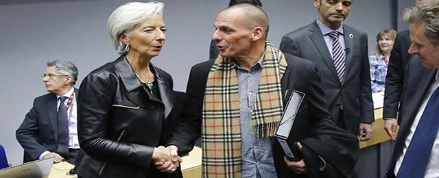 Christine Lagarde and Yanis Varoufakis