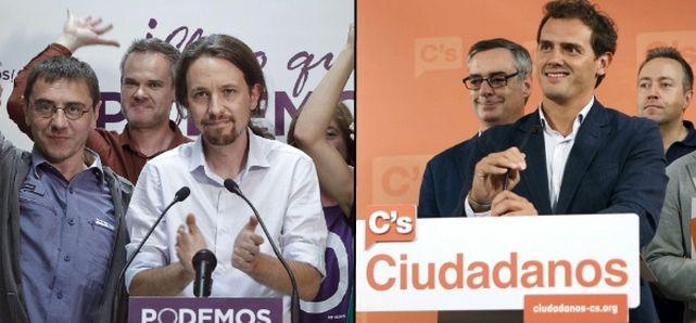 Pablo Iglesias (Podemos) and Alberto Rivera (Ciudadanos)
