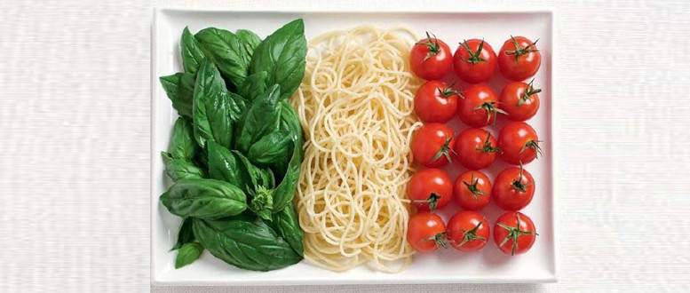 Italy flag made of food