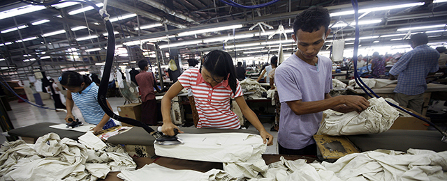 Myanmar garment factory workers