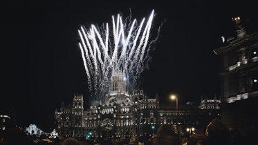 Fireworks at Cibeles square, Madrid