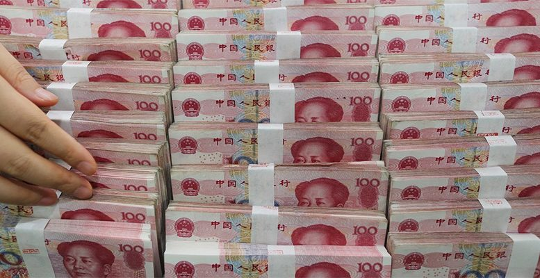 The yuan rose above 6.8 to the dollar