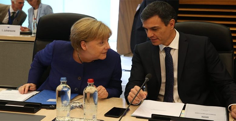 Angela Merkel and Pedro Sánchez at the EU Summit on immigration